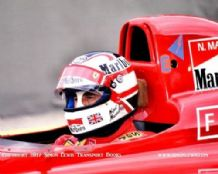 Nigel Mansell.Ferrari 641. Cockpit close-up photo. Brazil GP 1990